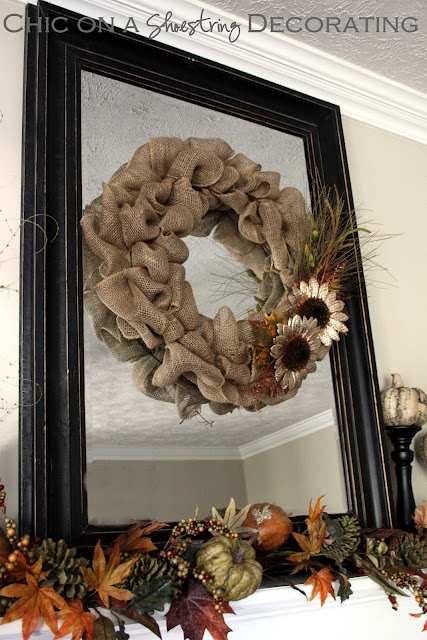 burlap wreath at Chic on a Shoestring Decorating