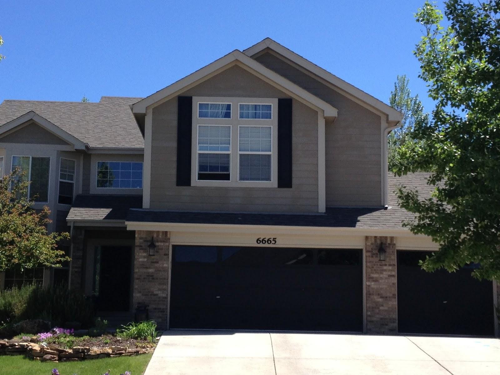 Grey house black garage doors - 1200 0a59c1 Cream Trim And Black Accents We Have Black Garage Doors And Shutters