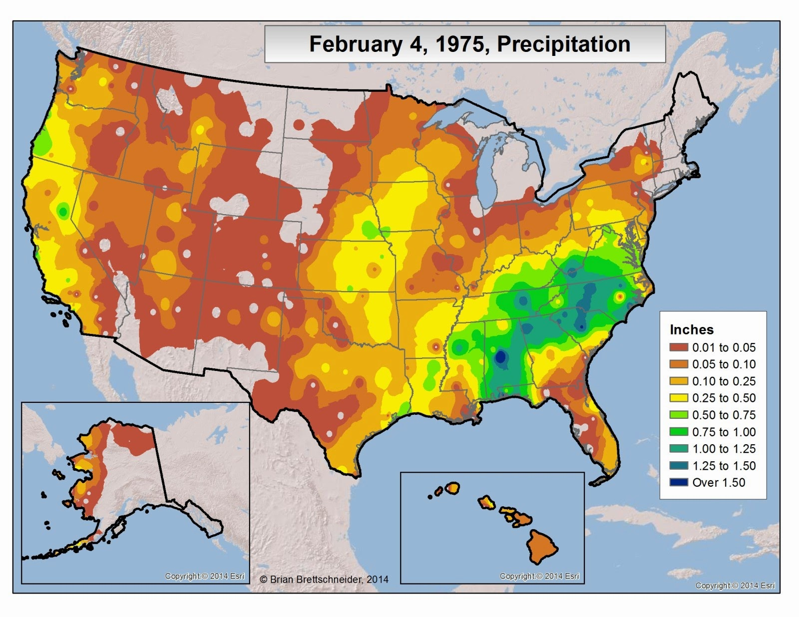 Figure 3 Observed Precipitation On February 4 1975
