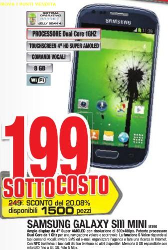 In offerta con 1500 pezzi disponibili uno smartphone android di fascia media ovvero il Samsung Galaxy S 3 Mini venduto al prezzo sottocosto di 199 euro