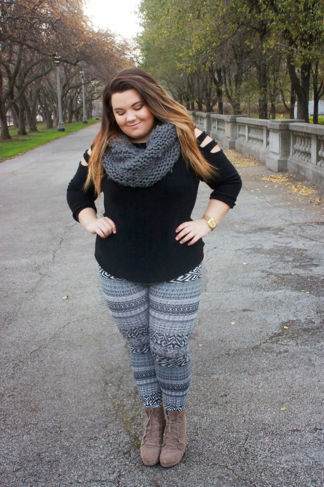 Plus size sweater dress with leggings and boots