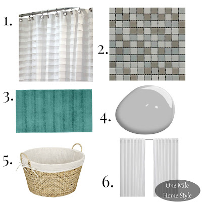 Grey Master Bathroom Budget Makeover Mood Board - One Mile Home Style