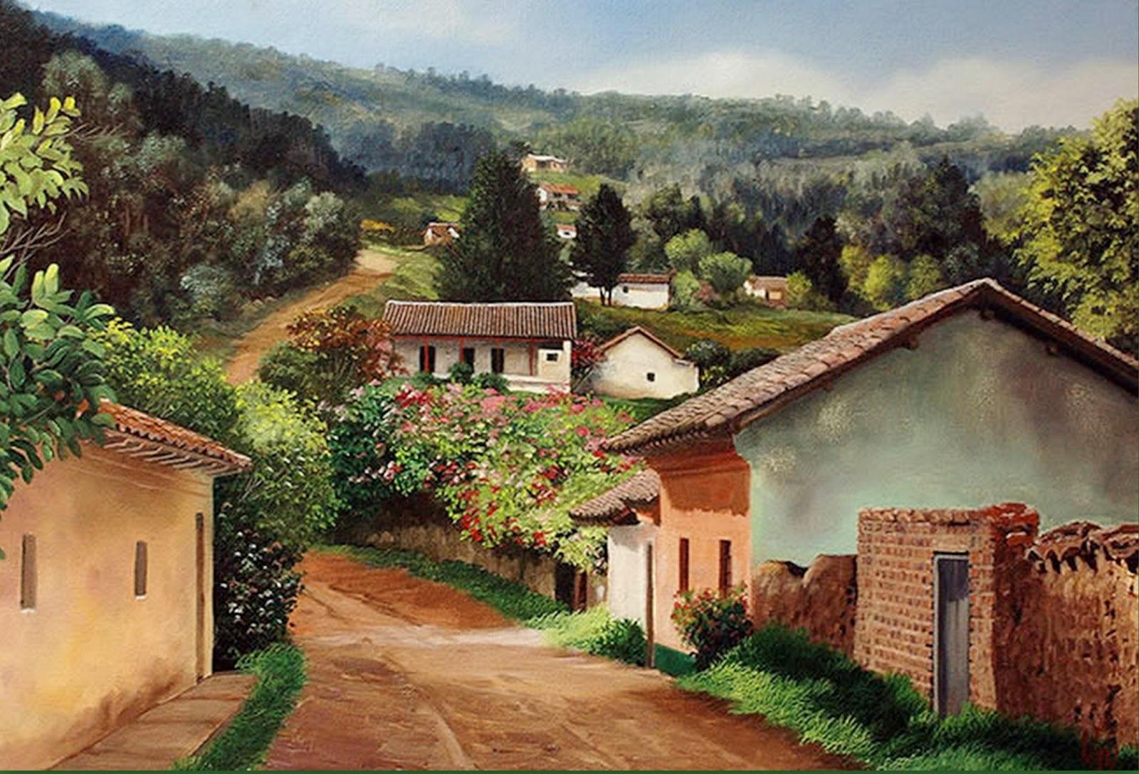 Cuadros modernos pinturas y dibujos paisajes colombianos - Cuadros de casas de campo ...