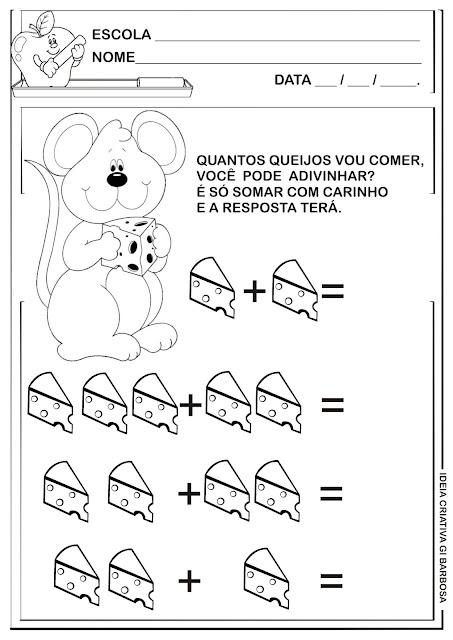 Atividade de Adição Ratinho com Queijo