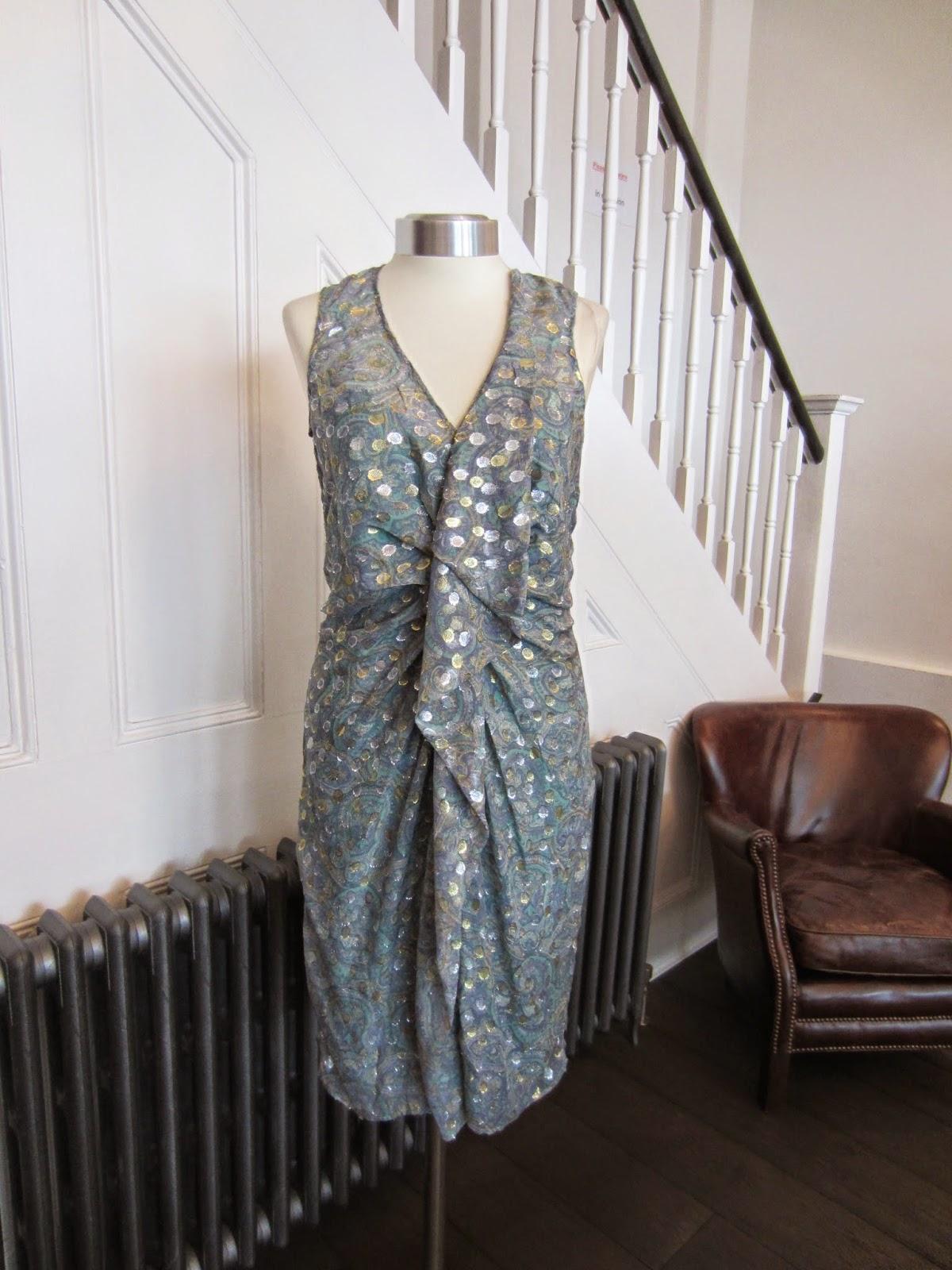 Rutzou Grey/Green Metallic Silk Dress