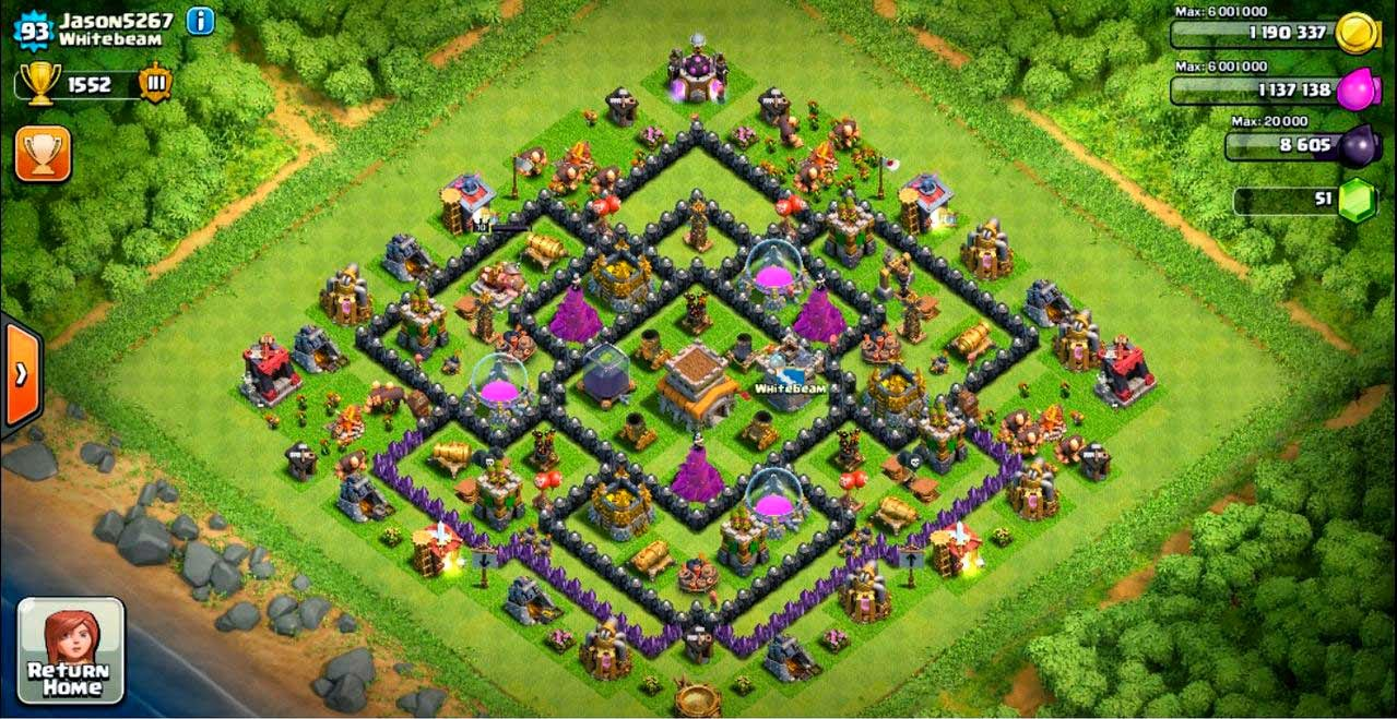 Trophy Base Clash of Clans Town Hall 8 Mortar 4