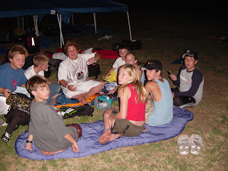 Aloha Beach Camp kids enjoying an overnight campout at Castaic Lake during the summer.