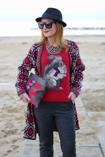knit coatigan, squirrel sweater, pinstripe pants, Fashion and Cookies, fashion blogger