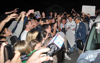 Crowd of morons at Joe Paterno's house