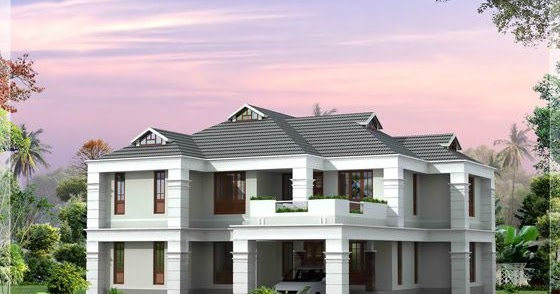 4 bhk sloping roof house design kerala home design for 4 bhk villa interior design