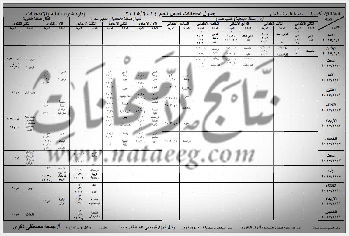 جدول امتحانات الشهادة الاعداديه بمحافظة الاسكندريه الترم الاول 2015 [بالصور]