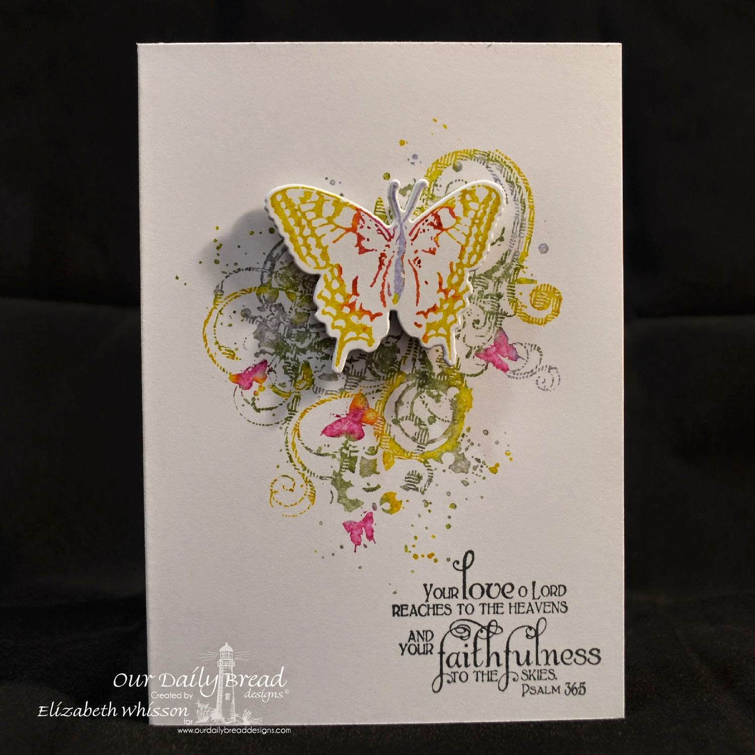 Elizabeth Whisson, Our Daily Bread Designs, butterfly, Psalm 36:5, handmade card, Grunge Butterfly, 2 step butterfly, distress markers