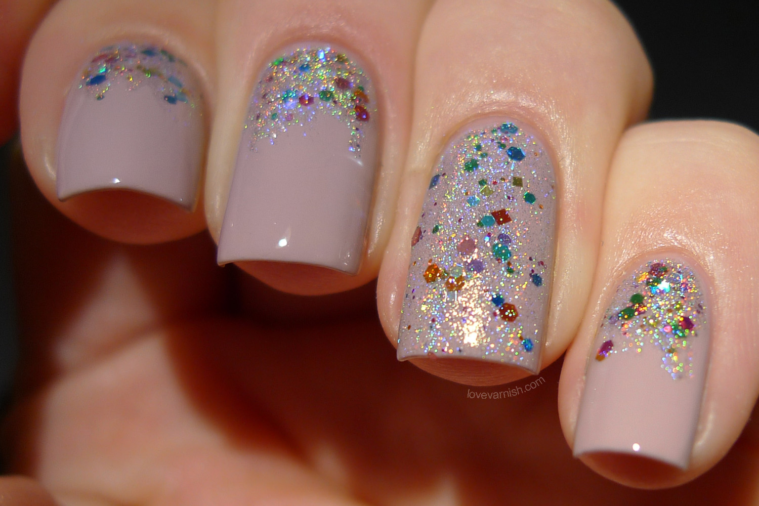 F.U.N Lacquer With SPRINGkles On Top rainbow holographic topper polish