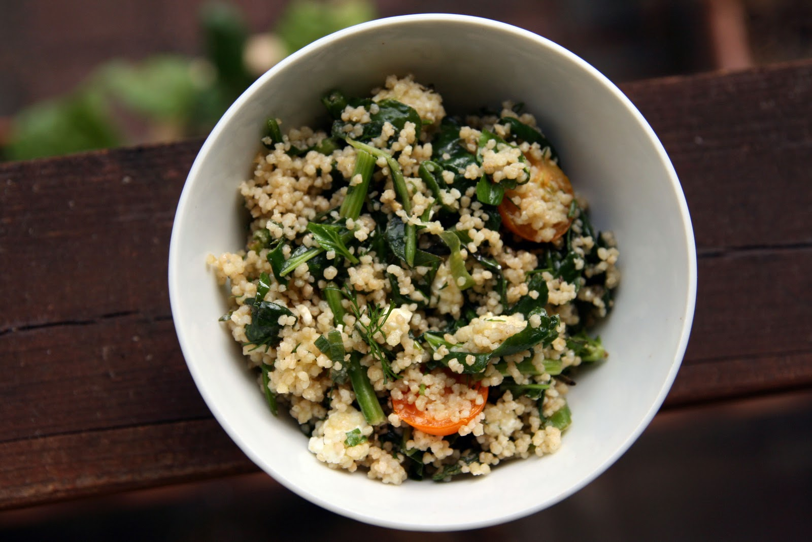 Couscous Salad with Spinach, Feta, Cherry Tomatoes and Herbs Recipe ...