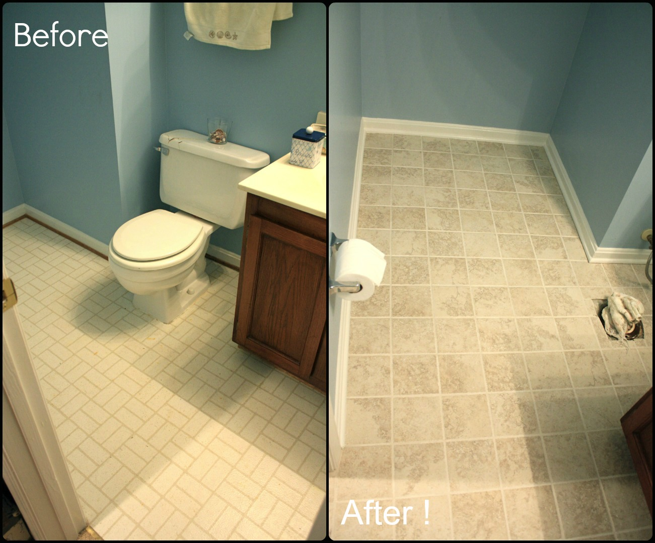 Simply diy 2 bathroom floor part 3 done for Painting bathroom tile before and after