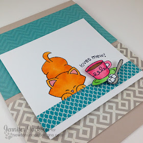 Cat card with Coffee by Jennifer Jackson for Coffee Lovers Blog hop | Stamps by Newton's Nook Designs