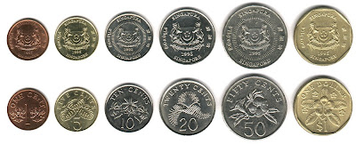 Singapore current circulating coins