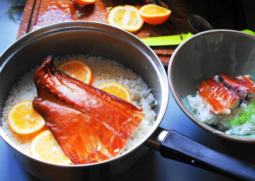 The kitchenmaid one pot smoky fish and rice for Fish and rice diet