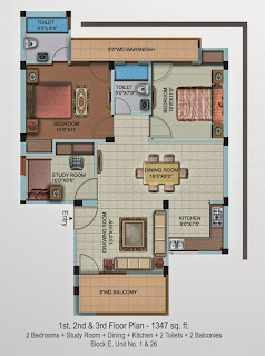 Oxford Square :: Floor Plans,Super Area 154 Sq. Yd. :-First Floor Plan 2 Bedrooms + Study Room + Dining + Kitchen + 2 Toilets + 2 Balconies Super Area: 1347 Sq. Ft.