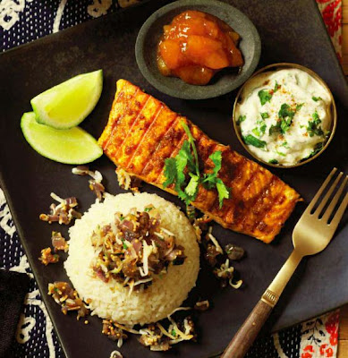 Indian Spiced Salmon with Lime Raita