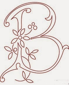 B flower calligraphy monogram tattoo stencils