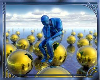 """Socializando sozinho- Formato alterado da escultura """"o pensador"""" (homem azul, sentado em bolas amarelas boiando na água."""