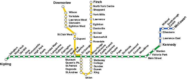 Current subway map in Toronto Canada