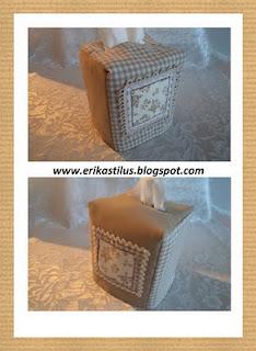 Kocka alakú zsebkendőtartóra borító varrása