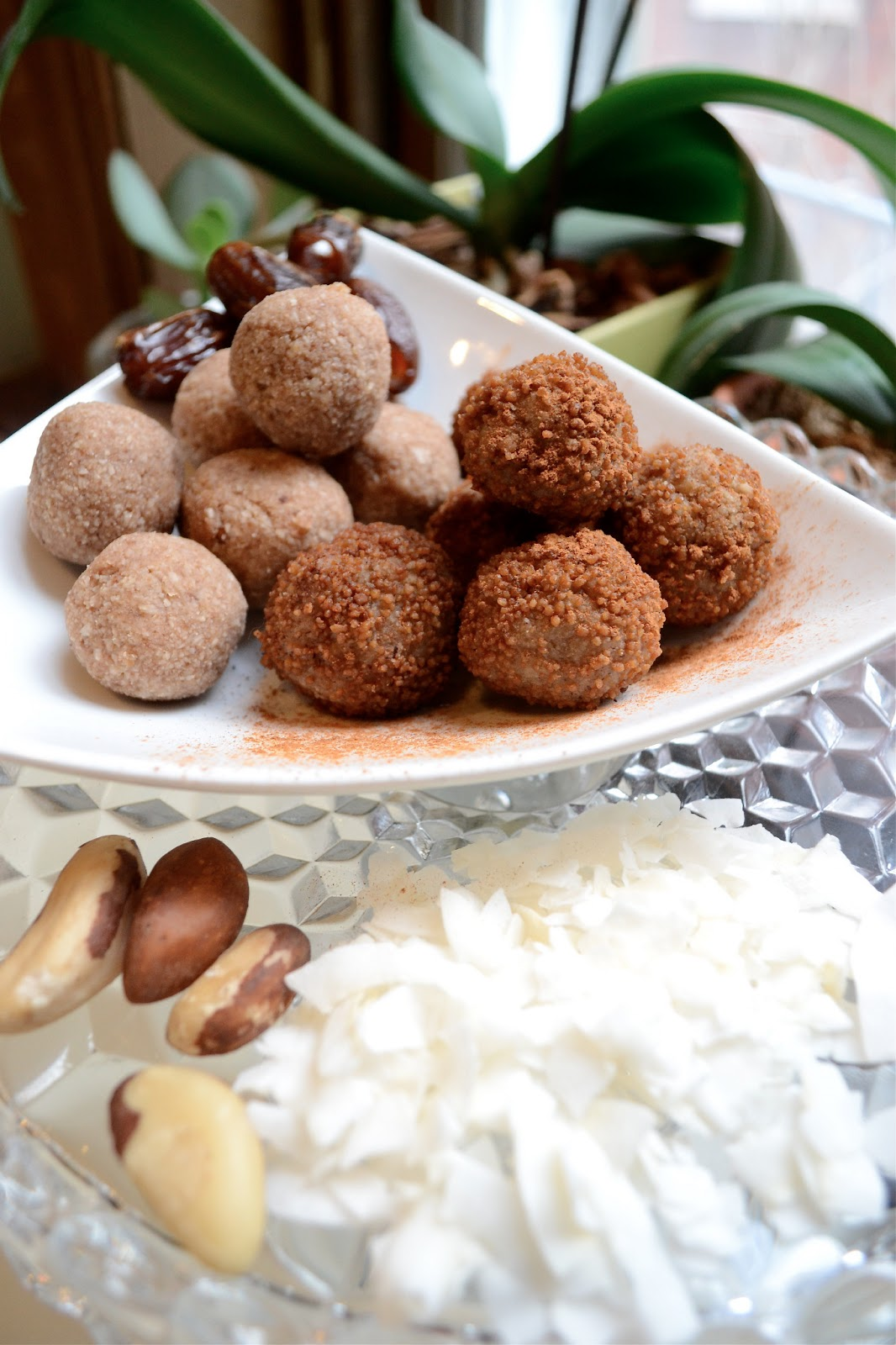 raw vegan brazil nut doughnut holes with cinnamon and sucanat, healthy dessert or snack