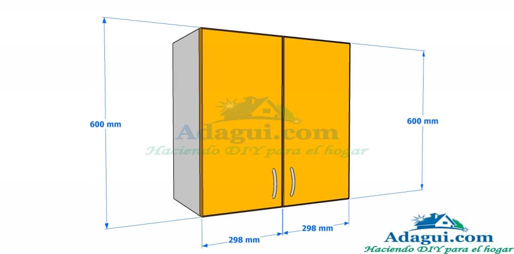 Plano y dise o con medidas mueble alto de cocina melamina for Medidas para muebles de cocina
