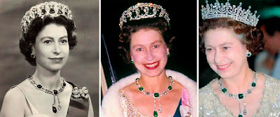 Queen Elizabeth wearing the Cullinan VII diamond suspended from the Delhi Durbar Necklace