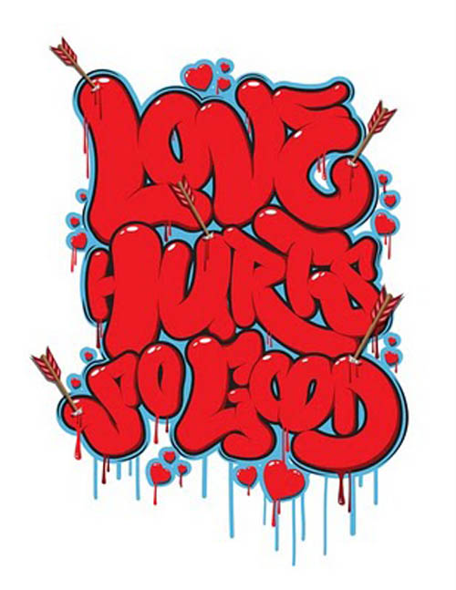 Graffiti Bubble Letters Love Hurt So Good