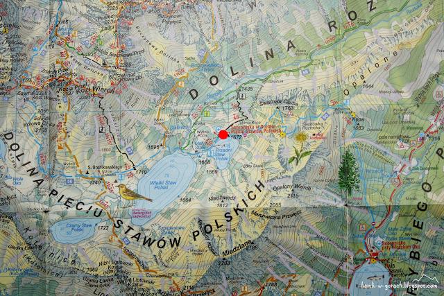 Schronisko w Dolinie Pięciu Stawów na mapie