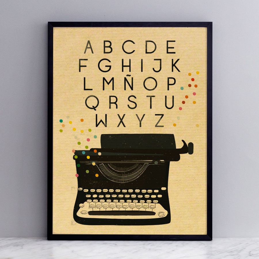 Lámina kraft máquina de escribir y alfabeto