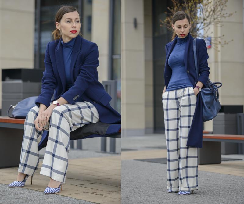 granatowy płaszcz Zara fashionblog