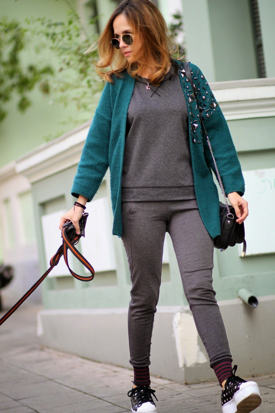 h&mcardigan,zaraleggings,irobag,adidassneakers