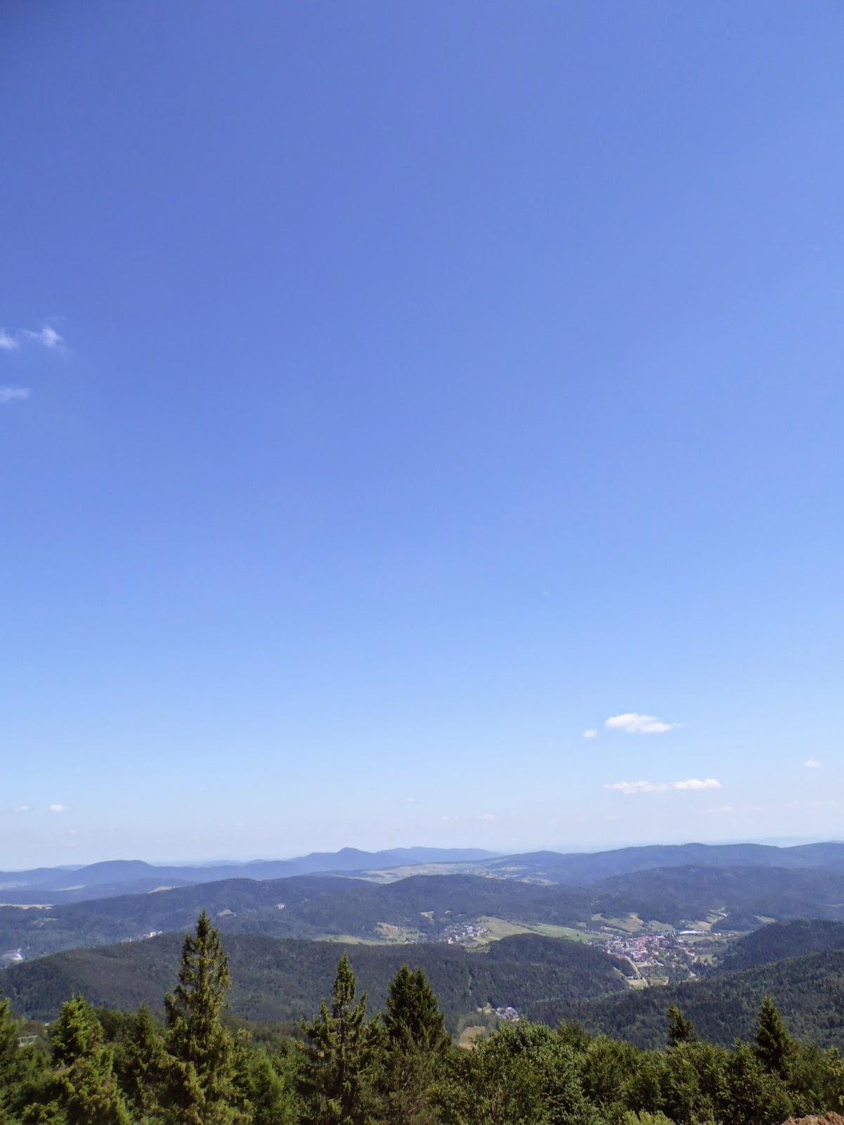 Widok z okolic szczytu Jaworzyny Krynickiej