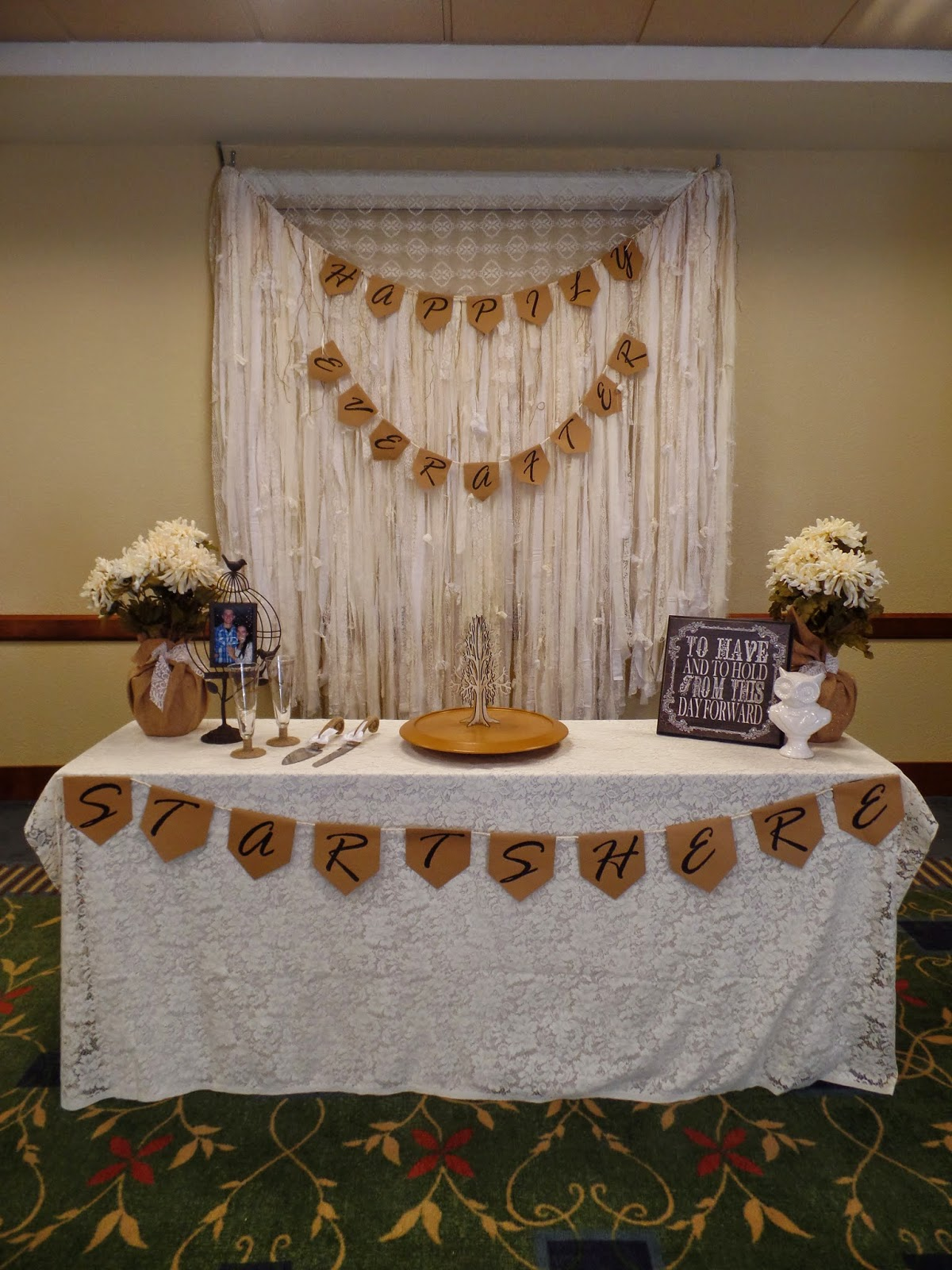 rustic wedding-- burlap and lace cake table