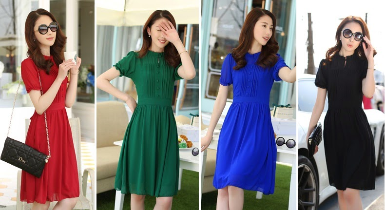 New Release 2014 Spring Short-Sleeved Chiffon Slim Knee Length Dress