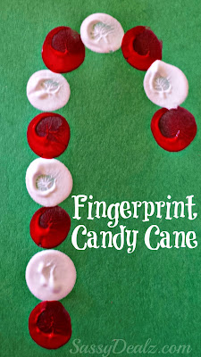 christmas fingerprint crafts for kids candycane