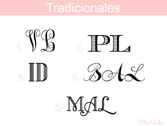 TIPOGRAFIAS, MARCOS Y BORDES PARA MONOGRAMAS:TRADICIONAL