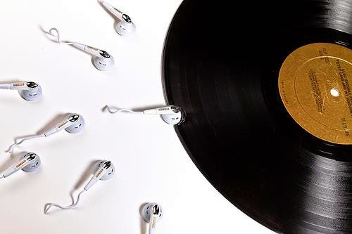 Vinyl Record with Earbud Sperm - Born to Love