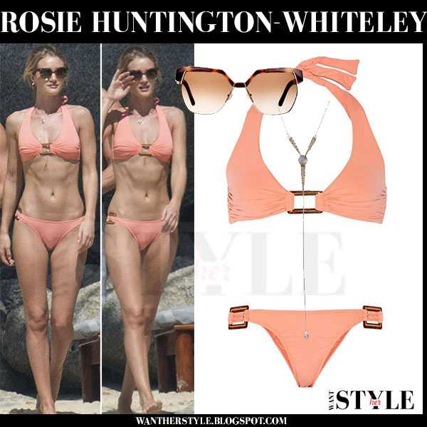 Rosie Huntington-Whiteley in peach two piece bikini melissa odabash paris beach thailand what she wore