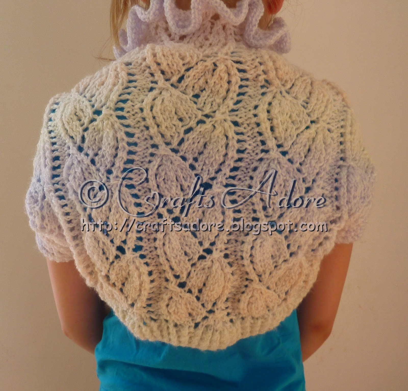 Free Knitting Pattern For Shrug : CraftsAdore: Knitted Girl Lacy Bellflowers Shrug Free Knitting Pattern