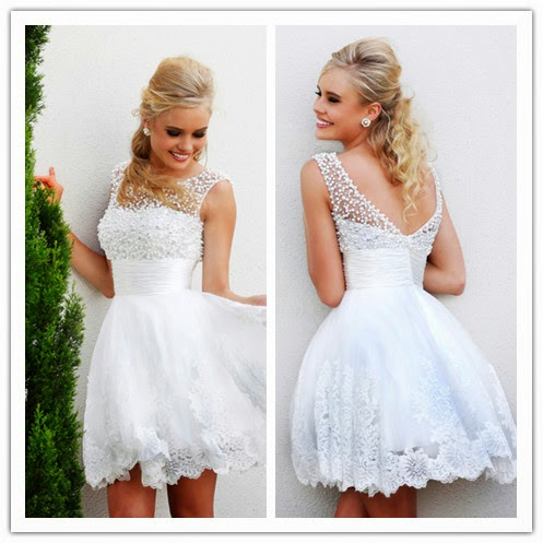 Charming a-Line Jewel Collar White Beaded Lace Short Mini Party Gowns Prom Dresses