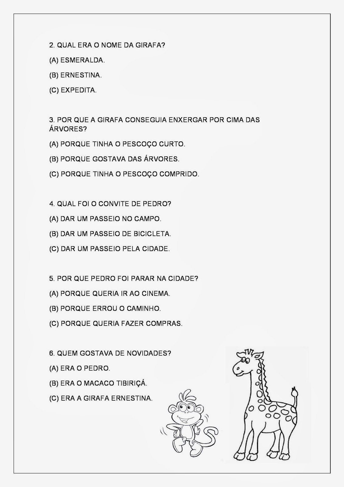 Textos Curtos - Texto sobre animais - Atividades de Interpretação