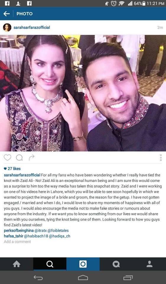 zaid ali amp sarah sarfaraz clarify they are not married