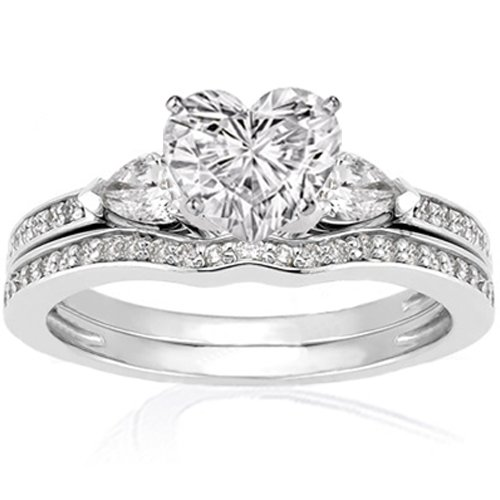 heart shaped 3 stone diamond engagement wedding rings set - Heart Shaped Wedding Ring Sets