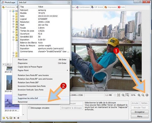 effacement des données exif sur photoscape et thierry roget en fond de photo