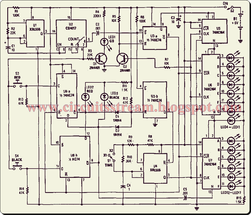 Simple Reaction Timer Circuit    Diagram      Electronic Circuit